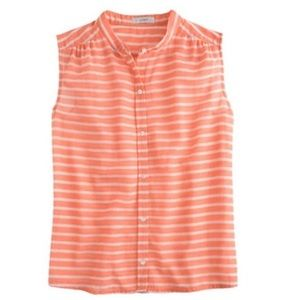 J Crew | Coral button down striped Sleeveless top